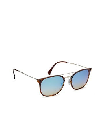 Ray-Ban Men Mirrored Square Sunglasses 0RB42866257B755 Ray-Ban Sunglasses at myntra