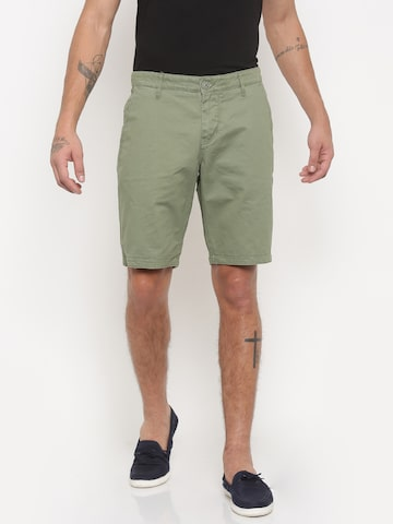 Being Human Clothing Men Green Solid Regular Fit Chino Shorts at myntra