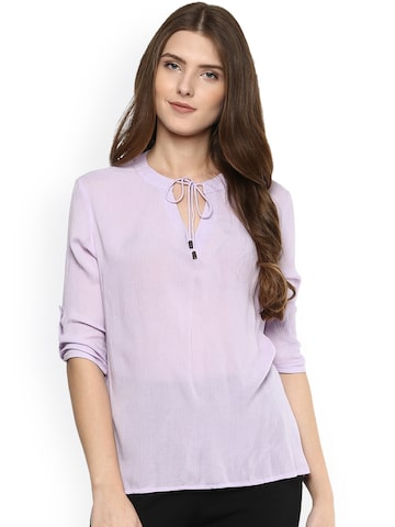 Citrine Women Lavender Solid Top at myntra