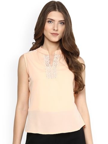 Citrine Women Peach-Coloured Solid Top at myntra