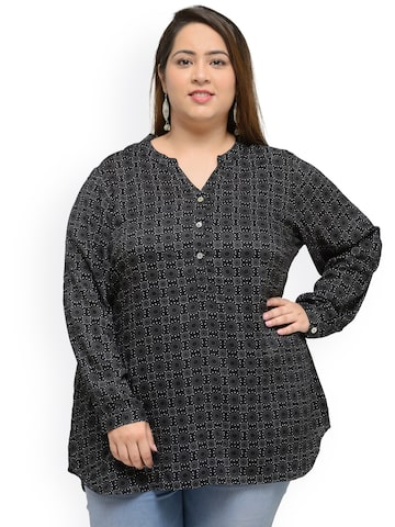 plusS Black Printed Tunic at myntra