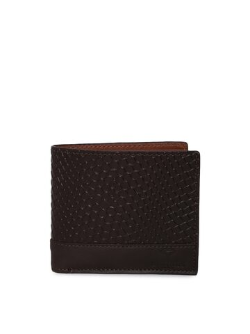 INVICTUS Men Brown Textured Two Fold Wallet INVICTUS Wallets at myntra
