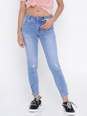 ONLY Women Blue Skinny Fit Mid-Rise Mildly Distressed Stretchable Jeans ONLY Jeans at myntra