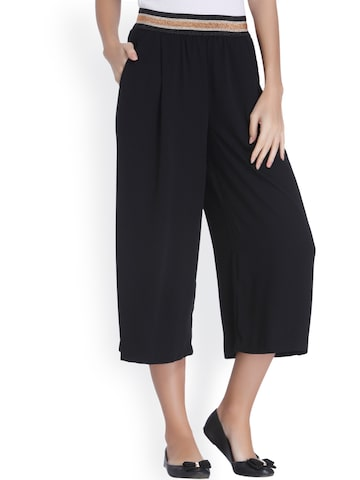 ONLY Women Black Loose Fit Solid Culottes ONLY Trousers at myntra