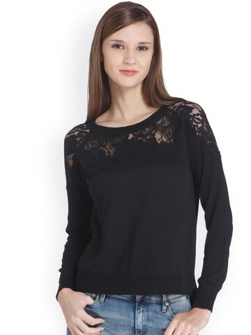 ONLY Women Black Solid Pullover ONLY Sweaters at myntra