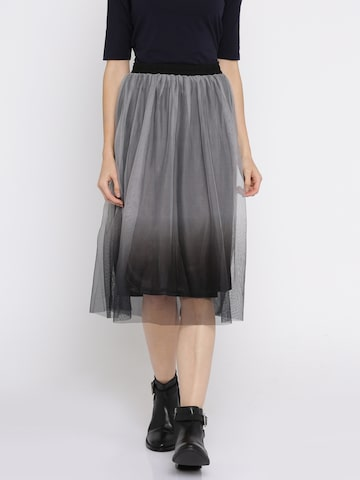 ONLY Grey & Black Ombre-Dyed Net A-Line Skirt ONLY Skirts at myntra