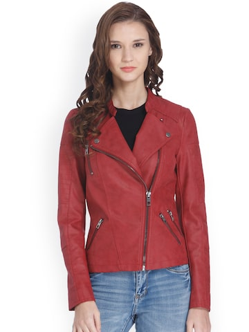 ONLY Women Red Solid Tight Fit Biker Jacket at myntra