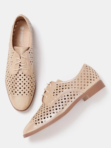 DressBerry Women Gold-Toned Derbys at myntra