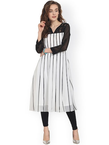 Soie Women White & Black Striped A-Line Kurta Soie Kurtas at myntra