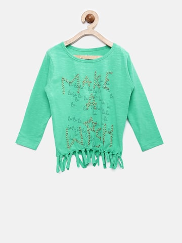 UFO Girls Green Printed & Beaded Top at myntra