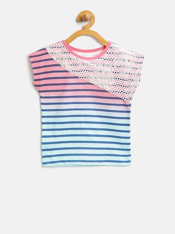 UFO Girls Pink & Blue Striped Top at myntra