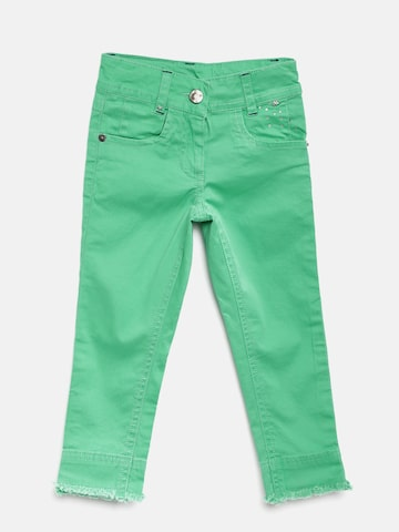 UFO Girls Green Skinny Fit Solid Regular Trousers UFO Trousers at myntra