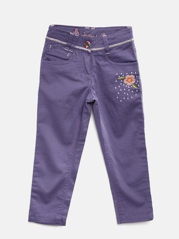 UFO Girls Purple Skinny Fit Regular Trousers at myntra