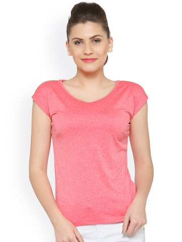 plusS Women Coral Pink Solid Round Neck T-shirt with Cut-Out Detail at myntra
