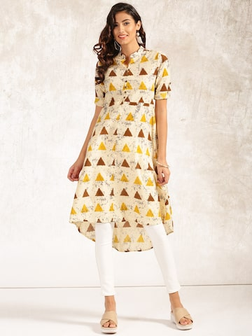 Anouk Women Cream-Coloured Printed A-Line Kurta Anouk Kurtas at myntra