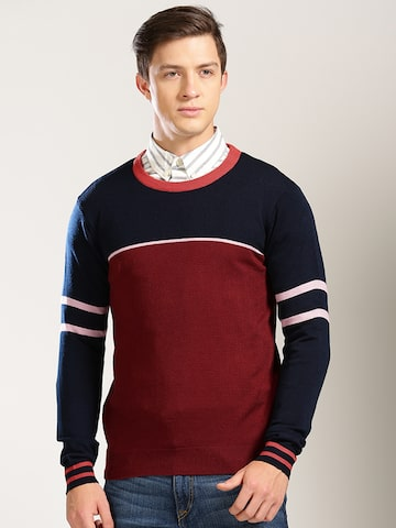 Harvard Men Navy Blue & Burgundy Colourblocked Pullover at myntra