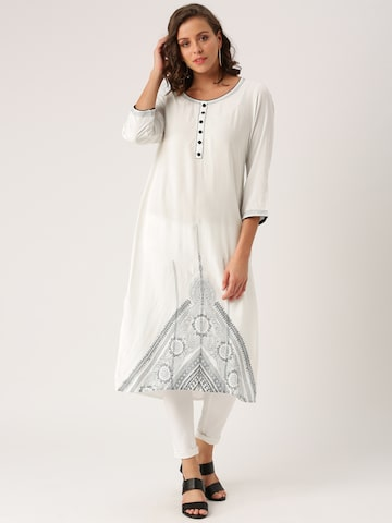 IMARA by Shraddha Kapoor Women White Woven Design A-Line Kurta IMARA Kurtas at myntra