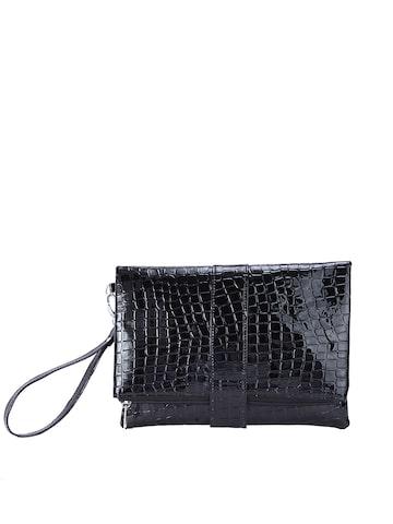 Tarusa Black Glossy Croc-Textured Foldable Clutch at myntra