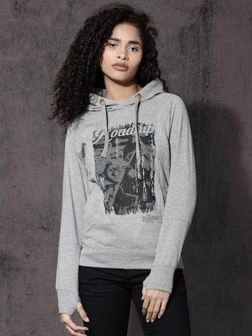 Roadster Women Grey Melange Printed Hooded Sweatshirt Roadster Sweatshirts at myntra