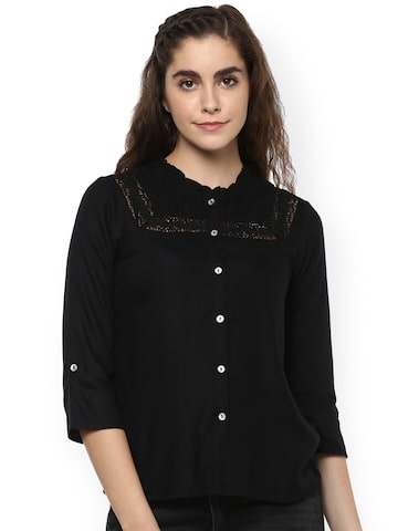The Vanca Women Black Standard Regular Fit Printed Casual Shirt at myntra