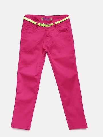 612 league Girls Pink Regular Fit Solid Chinos at myntra