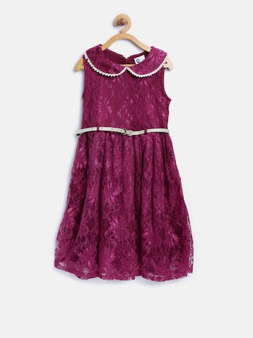 612 league Girls Wine-Coloured Lace Fit & Flare Dress at myntra