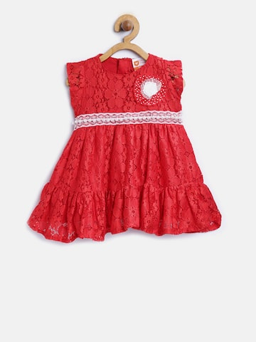 612 league Girls Red Lace Fit & Flare Dress 612 league Dresses at myntra