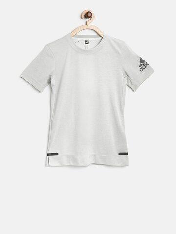 Adidas Boys Grey YB Chill Solid Round Neck T-shirt Adidas Tshirts at myntra