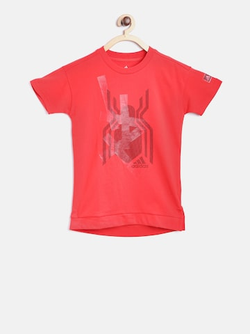 Adidas Boys Red LK DY SM GR Spiderman Print Round Neck T-shirt at myntra