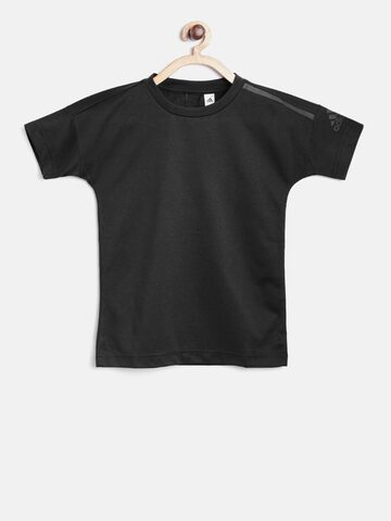 Adidas Boys Black YB ZNE Solid Round Neck T-shirt at myntra