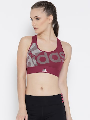 Adidas Maroon TF LO Printed Non-Wired Lightly Padded Sports Bra BQ9464-MYSRUB at myntra
