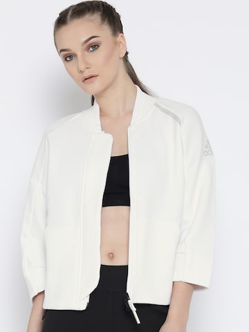 Adidas Women Off-White ZNE TRANS TT Solid Sporty Jacket at myntra