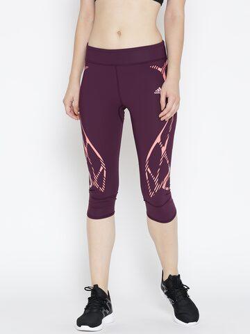 Adidas Purple AZ SW TI Printed 3/4th Tights at myntra