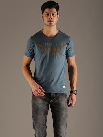 Flying Machine Men Blue Printed T-shirt at myntra