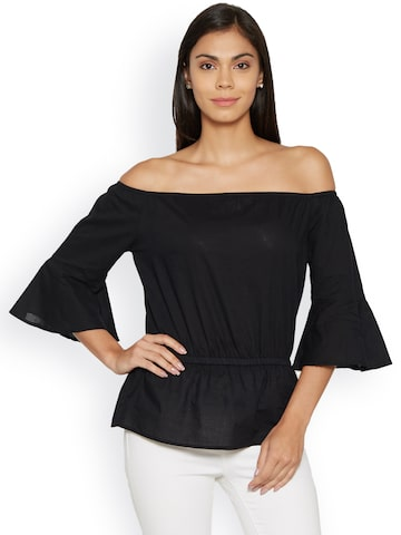 Bombay High Women Black Solid Bardot Top at myntra