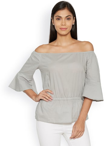 Bombay High Women Grey Solid Bardot Top at myntra