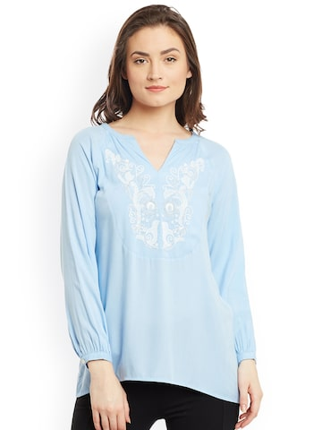 The Vanca Women Blue Solid Top at myntra