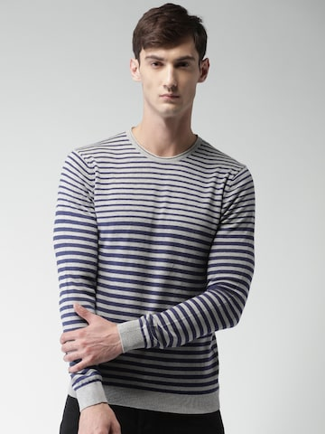 Celio Men Grey & Navy Blue Striped Pullover at myntra
