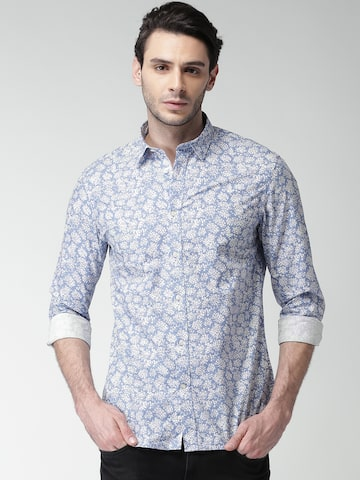 Celio Men Blue & White Regular Fit Printed Casual Shirt at myntra