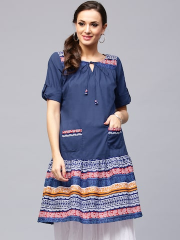 AKS Women Blue Printed A-Line Kurta at myntra