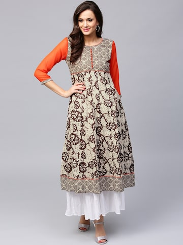 AKS Women Brown & Beige Printed Anarkali Kurta at myntra
