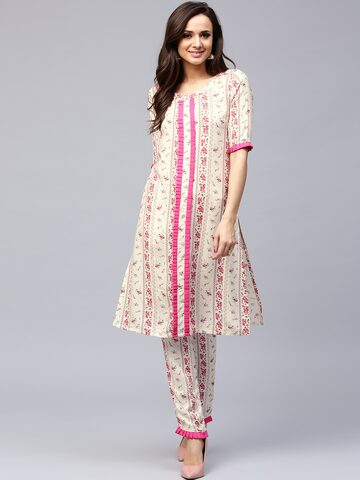 AKS Women Off-White & Pink Printed A-Line Kurta at myntra