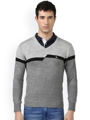 Parx Men Grey Solid Pullover Parx Sweaters at myntra