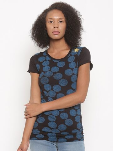 0973ddb21a0d Converse Women Black Printed Round Neck T-shirt from myntra in T Shirt