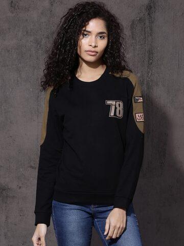 Roadster Women Black Solid Sweatshirt Roadster Sweatshirts at myntra