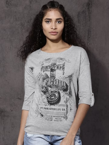 Roadster Women Grey Melange Printed T-shirt Roadster Tshirts at myntra