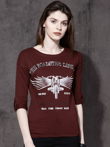 Roadster Women Maroon Printed Round Neck T-shirt Roadster Tshirts at myntra