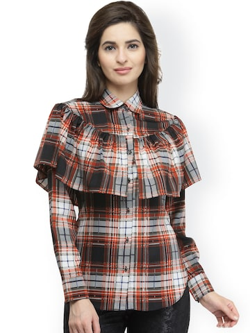 plusS Women Black & Rust Brown Regular Fit Checked Casual Shirt at myntra