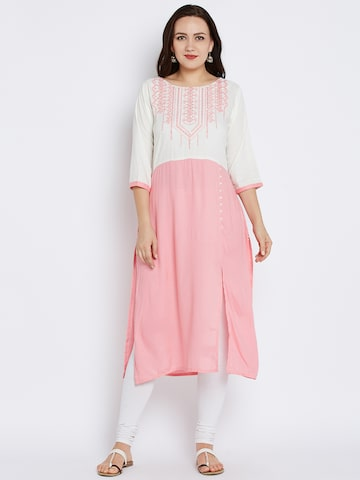 Shree Women Off-White & Pink Embroidered Straight Kurta at myntra
