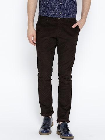 Blackberrys Men Brown Self-Design Corduroy Trousers at myntra